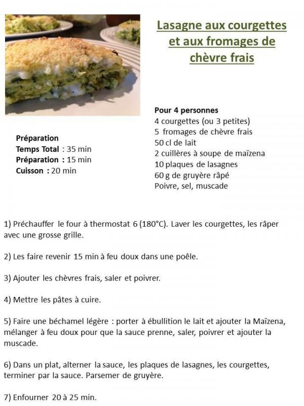 Lasagne courgette chevre frais